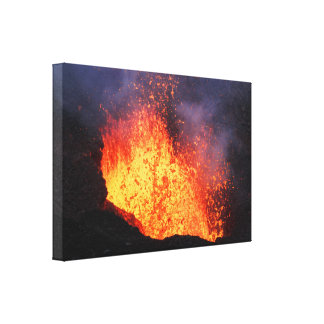 Toile Fontaine de lave éclatant du volcan de cratère