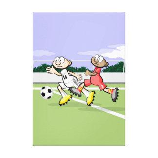 Toile Football joueur prend l'avantage avec élan