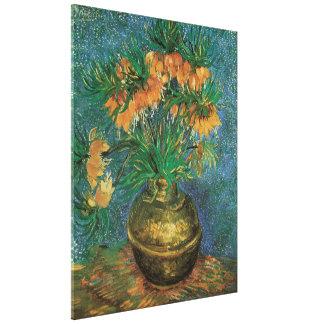 Toile Fritillaires dans un vase de cuivre par Vincent