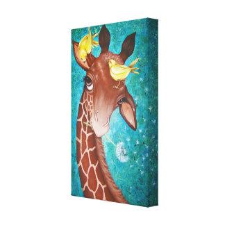 Toile Girafe mignonne avec la peinture d'oiseaux