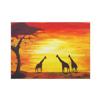 Toile Girafes au coucher du soleil (art de Kimberly