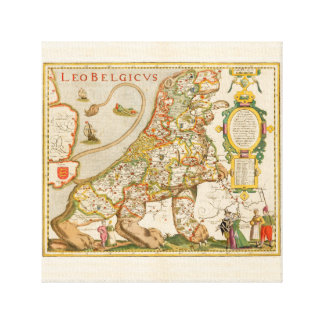 Toile Great Old Map of Belgium (Year 1617)