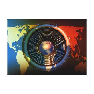 Toile Haut-parleur sur une carte du monde
