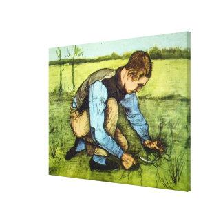 Toile Herbe de coupe de garçon de Van Gogh avec l'art de