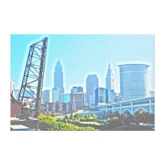 Toile Horizon bleu de matin de Cleveland, Ohio