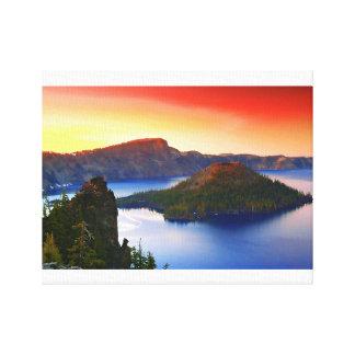 Toile Île de magicien et lac crater