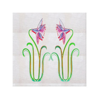 Toile Illustration artistique de fleur sur une pierre en