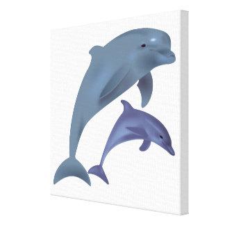 Toile Illustration sautante de dauphins