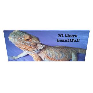 Toile Image barbue adorable de dragon sur le bleu