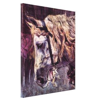 Toile Impressionisme vintage, tête d'un cheval par