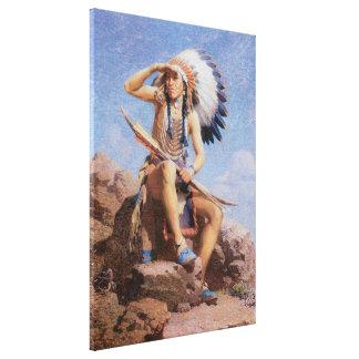Toile Indien d'Amerique indigène vintage, le scout par