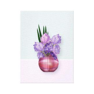 Toile Iris pourpres dans un vase à plaid