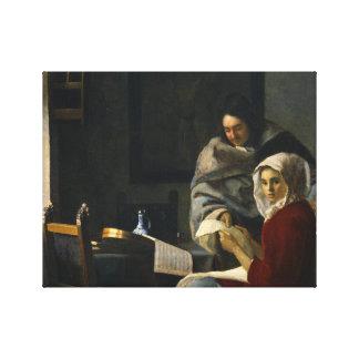 Toile Janv. Vermeer - fille interrompue à sa musique