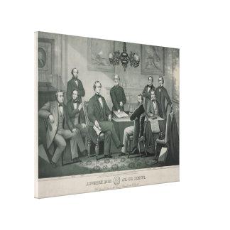 Toile Jefferson Davis et coffret dans le capitol de
