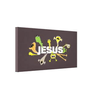 Toile Jésus effrayant (blanc)