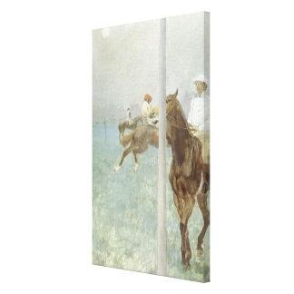 Toile Jockeys devant la course par Edgar Degas