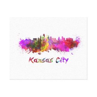 Toile Kansas Ville skyline in watercolor