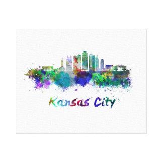 Toile Kansas Ville V2 skyline in watercolor