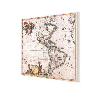 Toile La carte de Visscher du nouveau monde