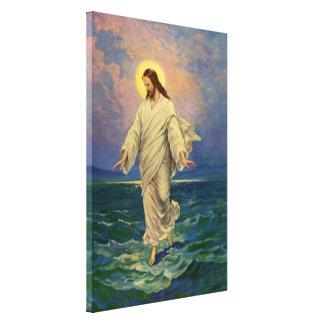 Toile La religion vintage, Jésus-Christ marche sur l'eau