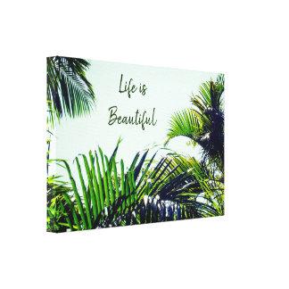 Toile La vie est beau feuille | tropical
