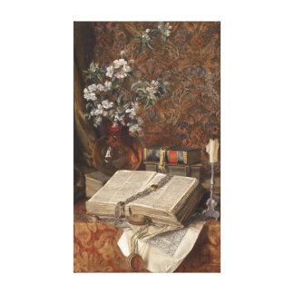 Toile La vie toujours avec des folios et des fleurs de