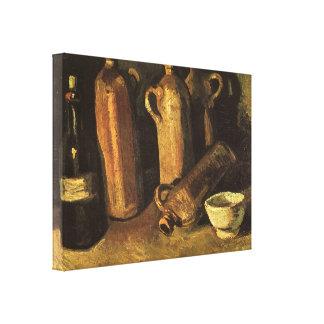 Toile La vie toujours avec les bouteilles en pierre par