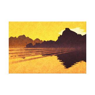 Toile Lac d'or de coucher du soleil