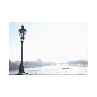 Toile Lampadaire sur le pont de Charles (Prague)