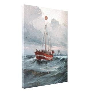 Toile Le bateau-phare à la peinture de récif de Skagen