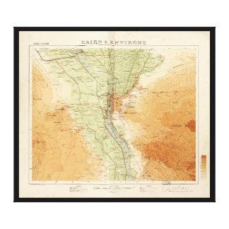 Toile Le Caire et environs, carte de l'Egypte (1925)