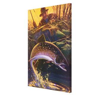Toile Le cru folâtre la pêche de poissons de truite,