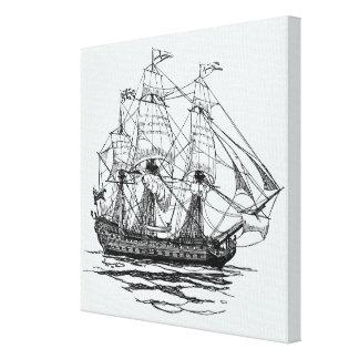 Toile Le cru pirate le galion, croquis d'un bateau