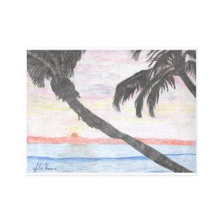 Toile Le dessin hawaïen de coucher du soleil