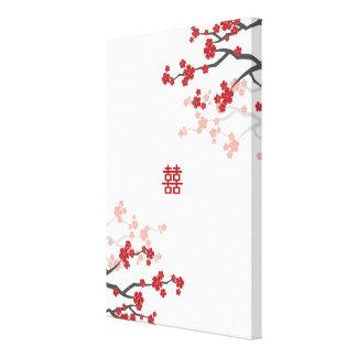 Toile Le double bonheur et les fleurs de cerisier ont