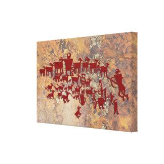 Toile Le grand panneau de pétroglyphe de chasse