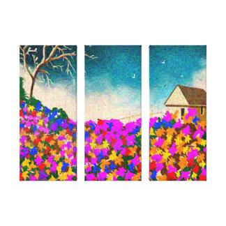 """Toile """"Le jardin d'agrément"""" art de trois panneaux sur"""