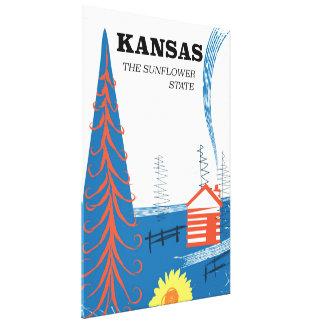 """Toile Le Kansas """"affiche vintage de voyage de l'état de"""