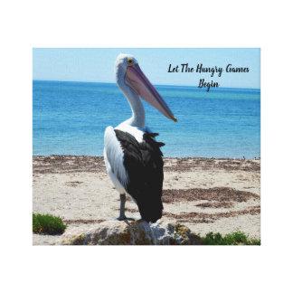 Toile Le pélican sur la roche de plage, a laissé les