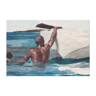 Toile Le plongeur d'éponge - Homer Winslow