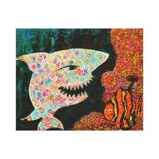 Toile Le requin/magie et le clown pêchent/toiles