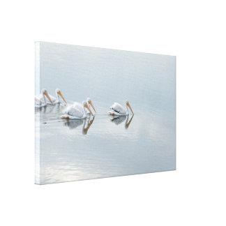 Toile Les animaux d'oiseaux de pélican blanc ont