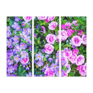 Toile Les fleurs violettes et roses, trois murent la