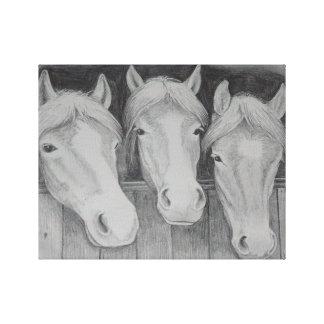 Toile Les trois amis - les amis chevalins