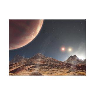 Toile Les trois soleils dans l'espace