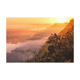 "Toile Lever de soleil 18x12 .75"" de brouillard de vallée"