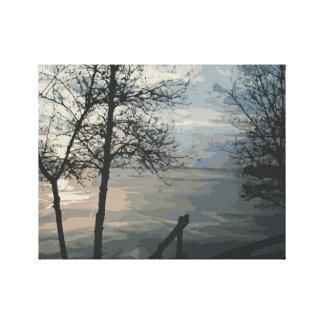 Toile Lever de soleil brumeux de lac