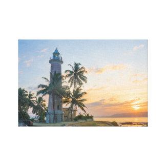 Toile Lever de soleil, phare de Galle