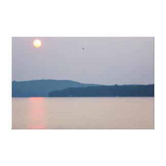Toile Lever de soleil sur le lac elk, Michigan
