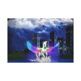 Toile Licorne avec des ailes d'arc-en-ciel
